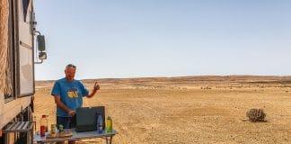 Jan cooking in the desert